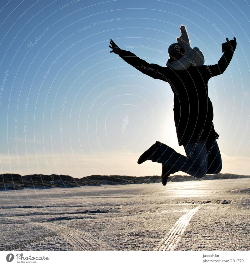 Jump! Joy Life Vacation & Travel Winter Winter vacation Young woman Youth (Young adults) Beautiful weather Ice Frost Snow Jacket Scarf Cap Healthy Happiness