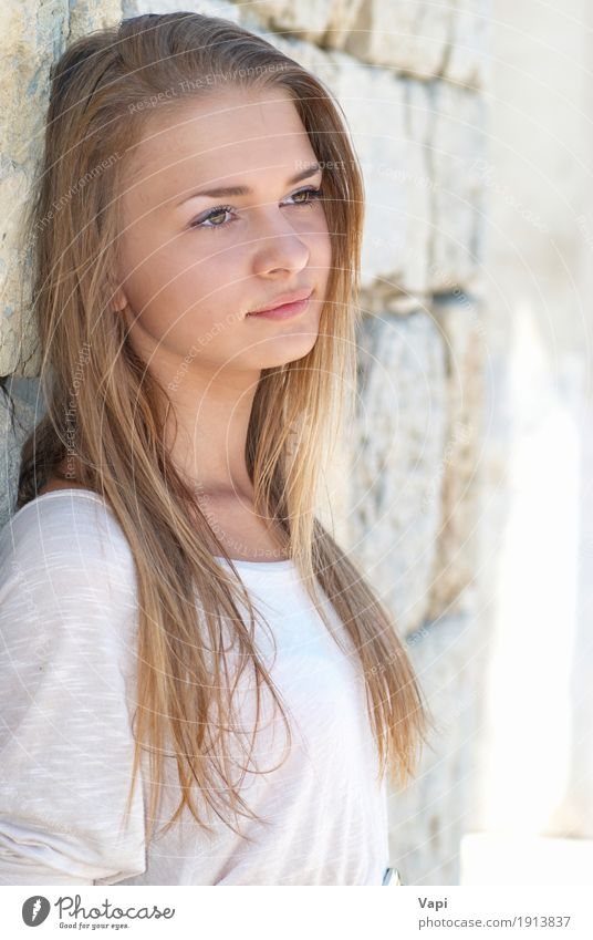 Blond young woman outdoors Human being Woman Youth (Young adults) Blue Summer Young woman Beautiful White Sun Relaxation Joy Black Face Adults Yellow Wall (building)