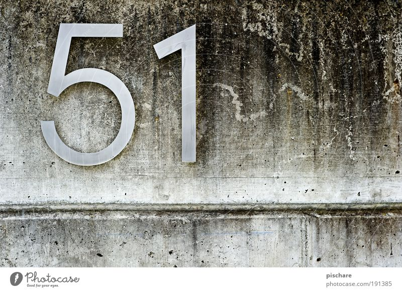 51 Wall (barrier) Wall (building) Concrete Digits and numbers Signs and labeling Sharp-edged Simple Gray Living or residing pischarean House number Colour photo