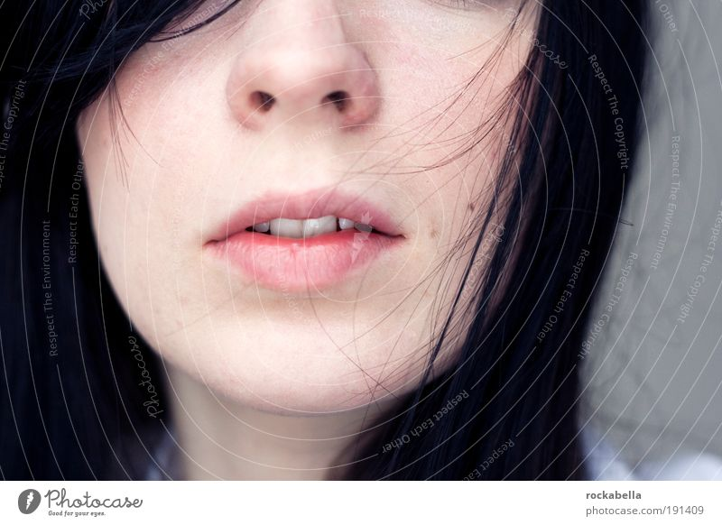 Woman Youth (Young adults) Beautiful Calm Face Adults Relaxation Life Feminine To talk Healthy Contentment Skin Mouth Nose Young woman