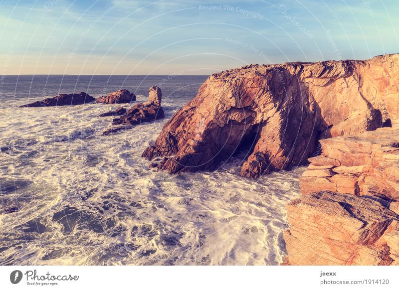 How many secrets Nature Water Sky Beautiful weather Rock Waves Coast Ocean Large Maritime Natural Warmth Wild Blue Brown White Horizon Colour photo