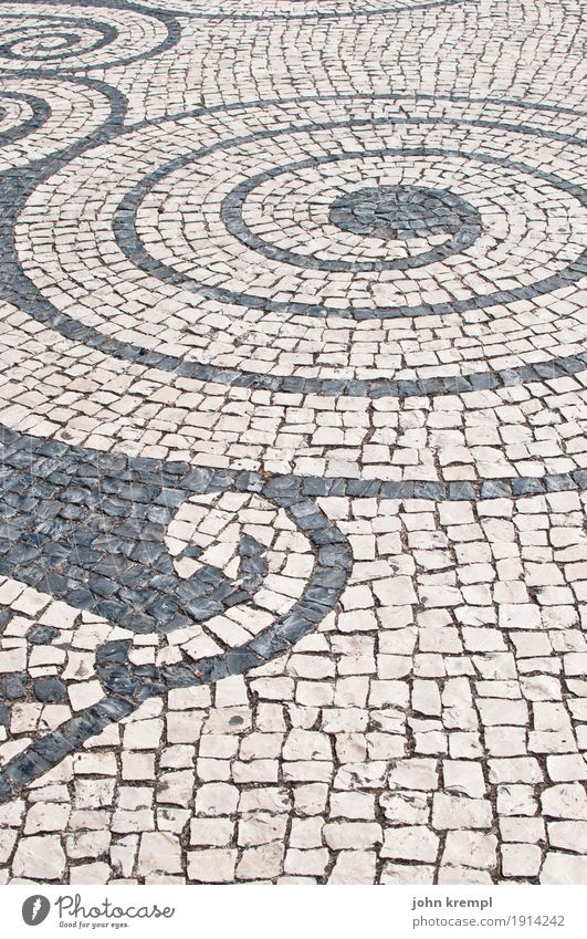 spiral Lisbon Portugal Capital city Places Street Mosaic Paving stone Historic Happy Contentment Joie de vivre (Vitality) Esthetic Hope Idyll Town Spiral
