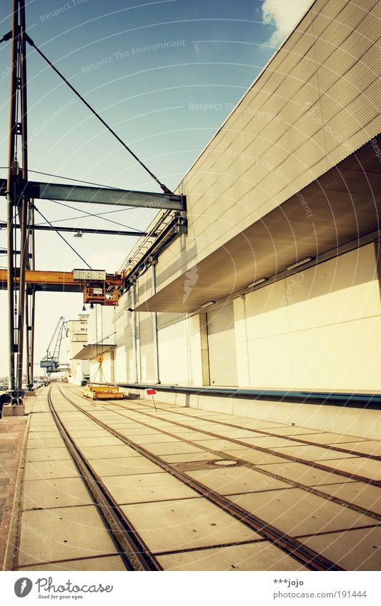 Concrete Modern Perspective Industry Industrial Photography Harbour Railroad tracks Steel Navigation River bank Crane Construction Warehouse Geometry Container