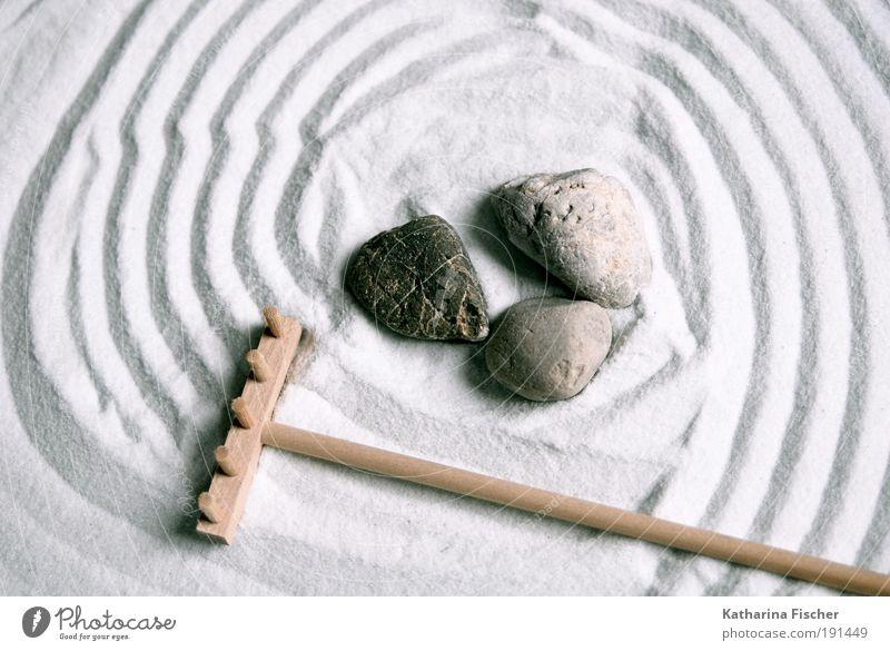 Zen garden Relaxation Calm Meditation Stone Sand Line Brown Gray White Contentment Feng Shui Miniature Zen Buddhism Pebble Colour photo Interior shot