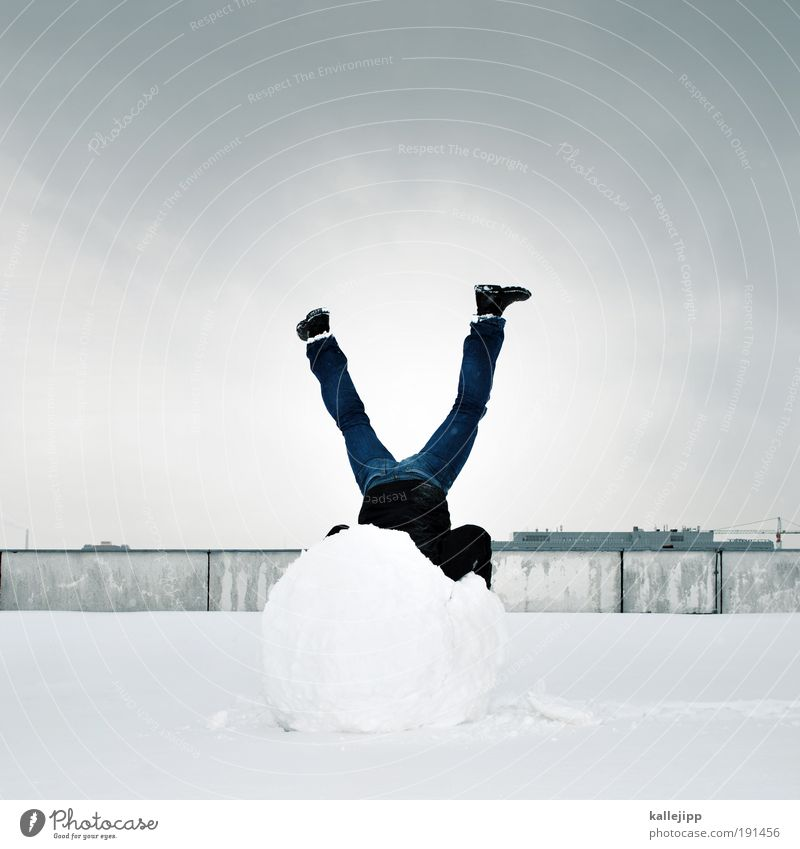 Human being Man City Winter Adults Cold Snow Legs Ice Body Masculine Contentment Crazy Roof Frost Balance