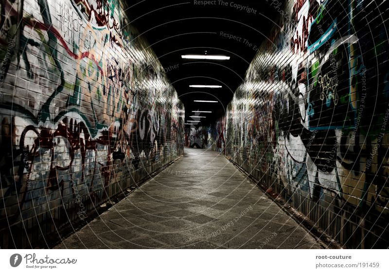 Wall of Fame Art Painter Exhibition Museum Work of art Stage Youth culture Subculture Shows Tunnel Walking Draw Write Aggression Dark Uniqueness Cold Design