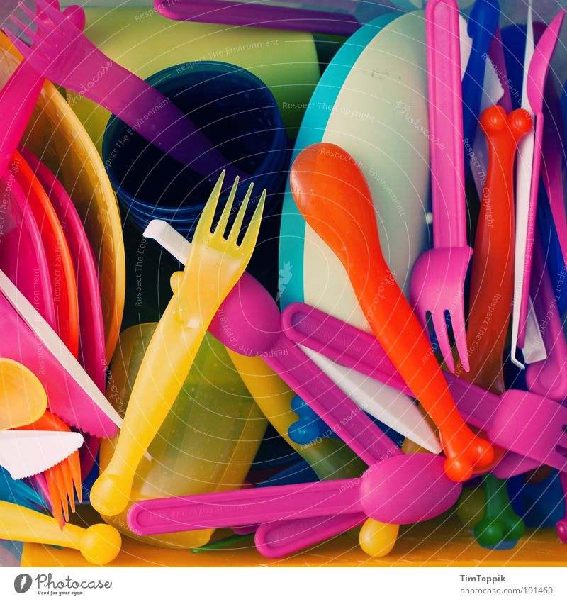 Colour Nutrition Plastic Crockery Camping Plate Bottle Chaos Multicoloured Manual cooking appliances Mug Fork Knives Cutlery In transit Packaging