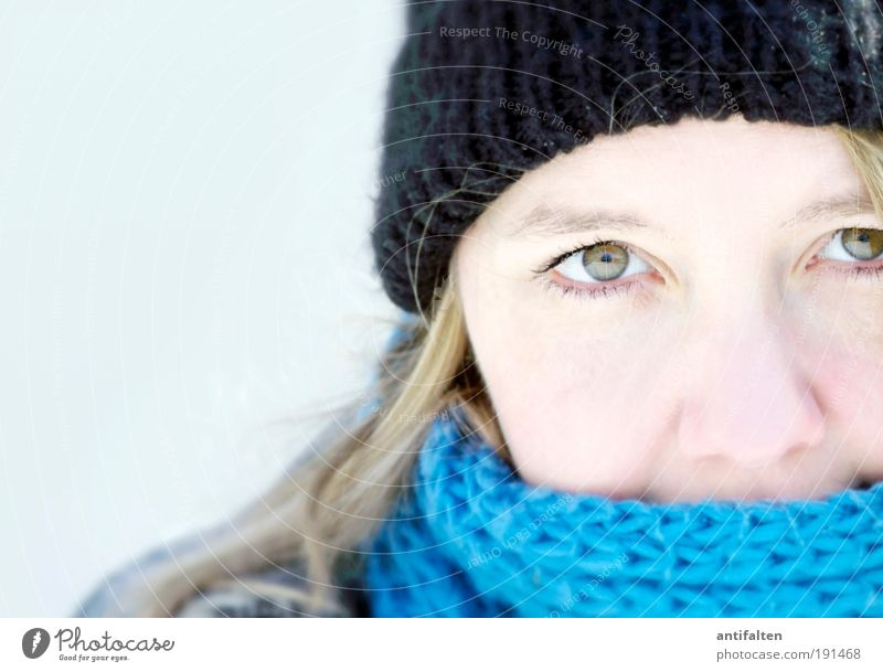 Human being Youth (Young adults) White Blue Winter Face Black Eyes Cold Feminine Hair and hairstyles Gray Head Ice Bright Skin