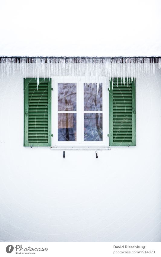 ice age Vacation & Travel Adventure Winter Winter vacation Beautiful weather Ice Frost House (Residential Structure) Facade Window Roof Eaves Green White Icicle