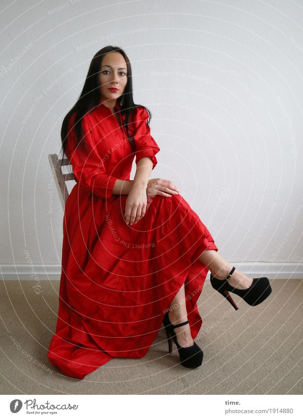 nastya Chair Room Feminine Woman Adults 1 Human being Dress High heels Black-haired Long-haired Observe Looking Sit Wait Beautiful Self-confident Willpower