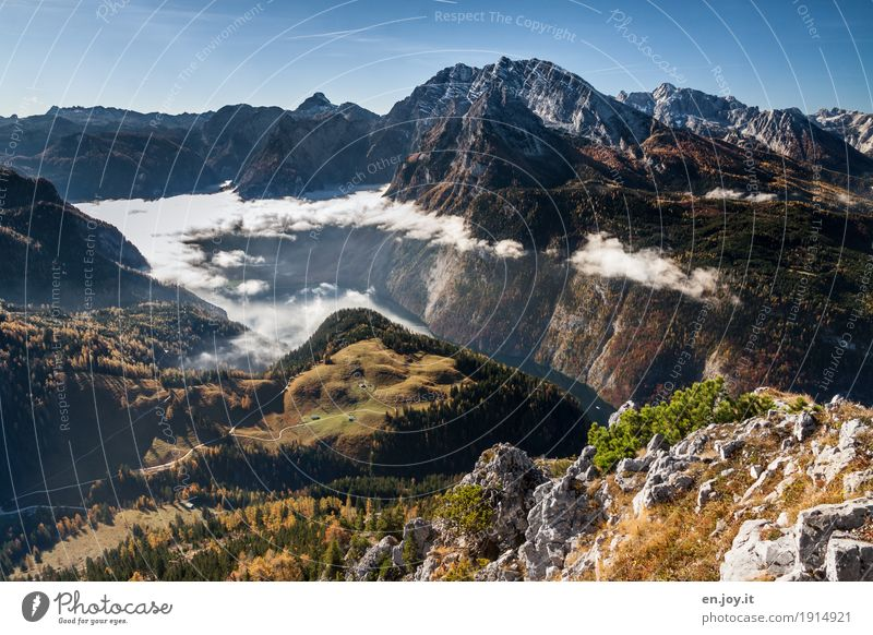 Nature Vacation & Travel Landscape Clouds Far-off places Mountain Autumn Freedom Lake Tourism Rock Horizon Fog Trip Hiking Tall