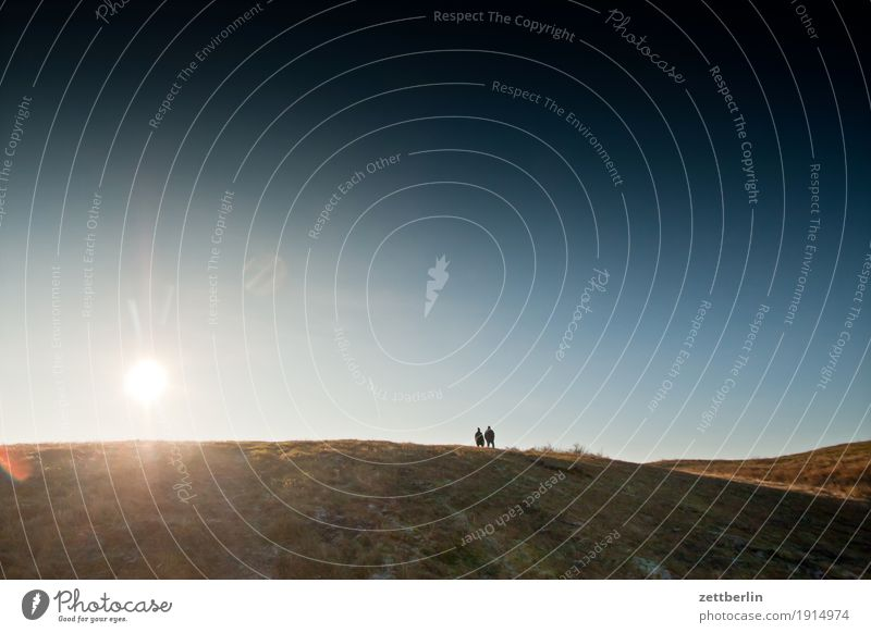 Human being Sky Nature Vacation & Travel Heaven Sun Landscape Relaxation Far-off places Winter Autumn Meadow Grass Couple Horizon Copy Space