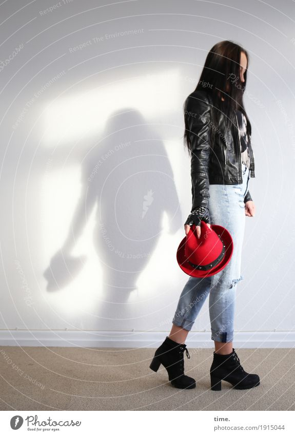 nastya Room Feminine Woman Adults 1 Human being T-shirt Jeans Jacket Boots Hat Black-haired Long-haired To hold on Going Stand Beautiful Sadness Concern