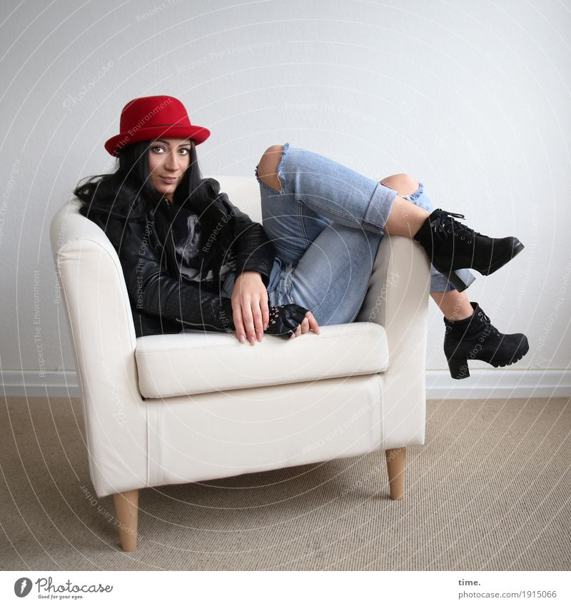 nastya Armchair Room Feminine Woman Adults Jeans Jacket Boots Hat Black-haired Long-haired Observe Relaxation Smiling Looking Sit Wait Beautiful Contentment