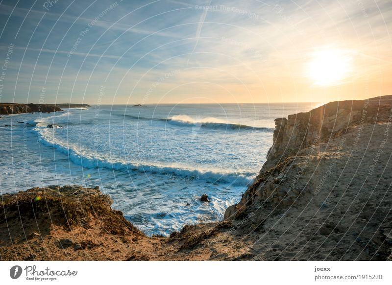 Clear head Vacation & Travel Sun Ocean Waves Nature Landscape Sky Sunrise Sunset Sunlight Summer Beautiful weather Rock Coast Infinity Maritime Wild Freedom