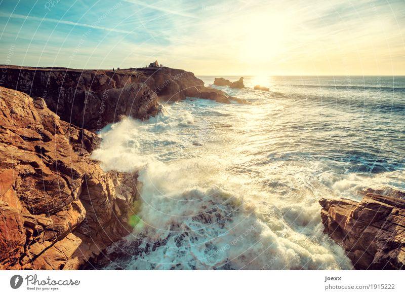 be the sea Landscape Water Sky Sun Sunrise Sunset Sunlight Beautiful weather Rock Waves Coast Ocean Gigantic Infinity Bright Maritime Wild Blue Brown Yellow