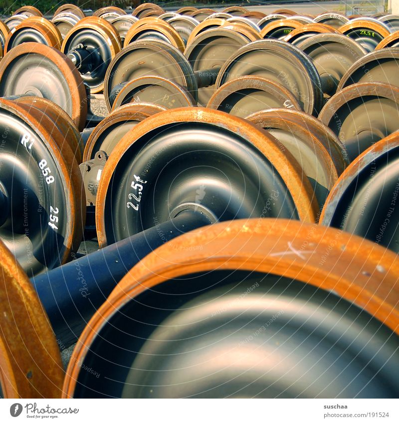 """weightlifting ... Logistics Rail transport Metal Steel Contentment Weight Heavy Storage spare parts warehouse """"22.5 tons."""" Wheel Round Territory Colour photo"""