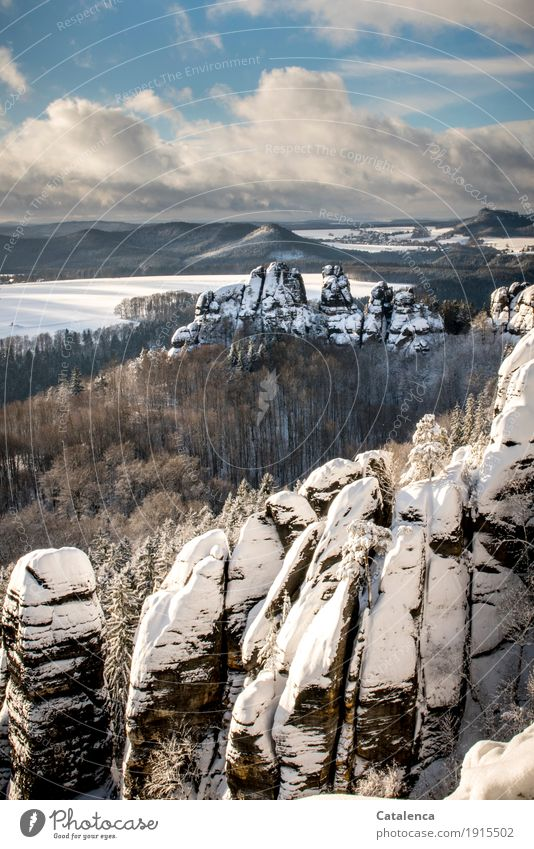 scratchstones Hiking Landscape Plant Air Sky Clouds Winter Ice Frost Snow Tree Forest Mountain Elbsandstone mountains Stone Cold Beautiful Blue Brown White