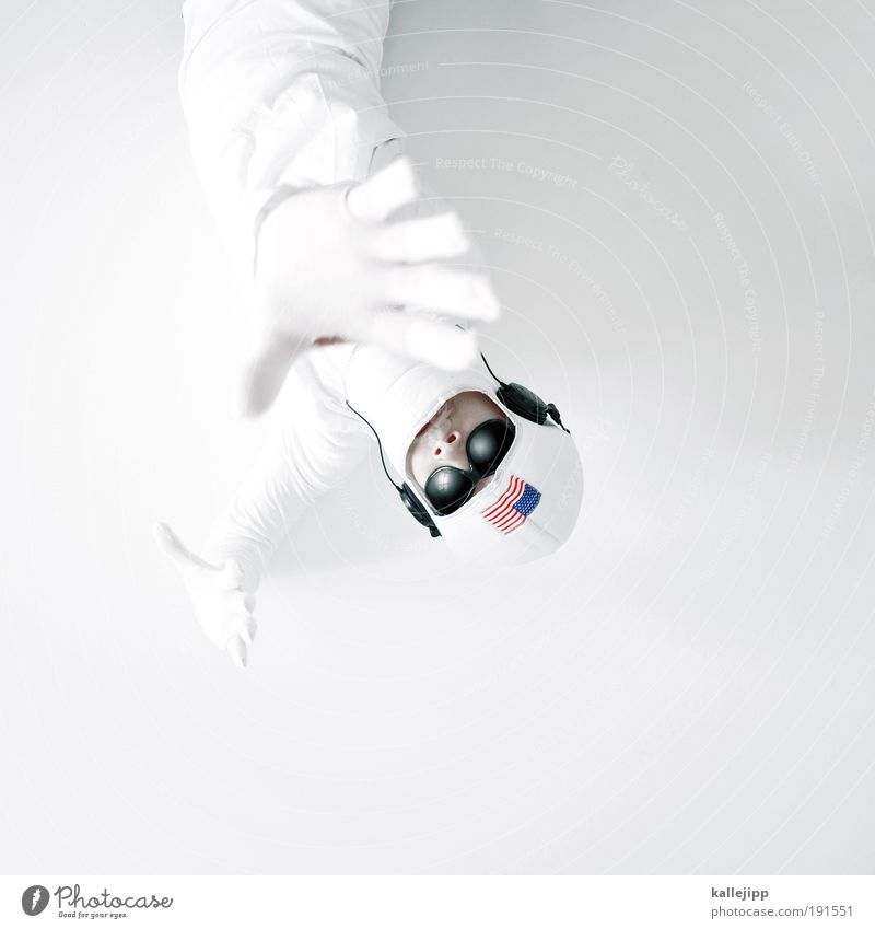 major tom Profession Human being Man Adults Face Hand Fingers 1 Pilot Accessory Sunglasses Cap Helmet White Logistics Know Target Future Americas Flag Astronaut