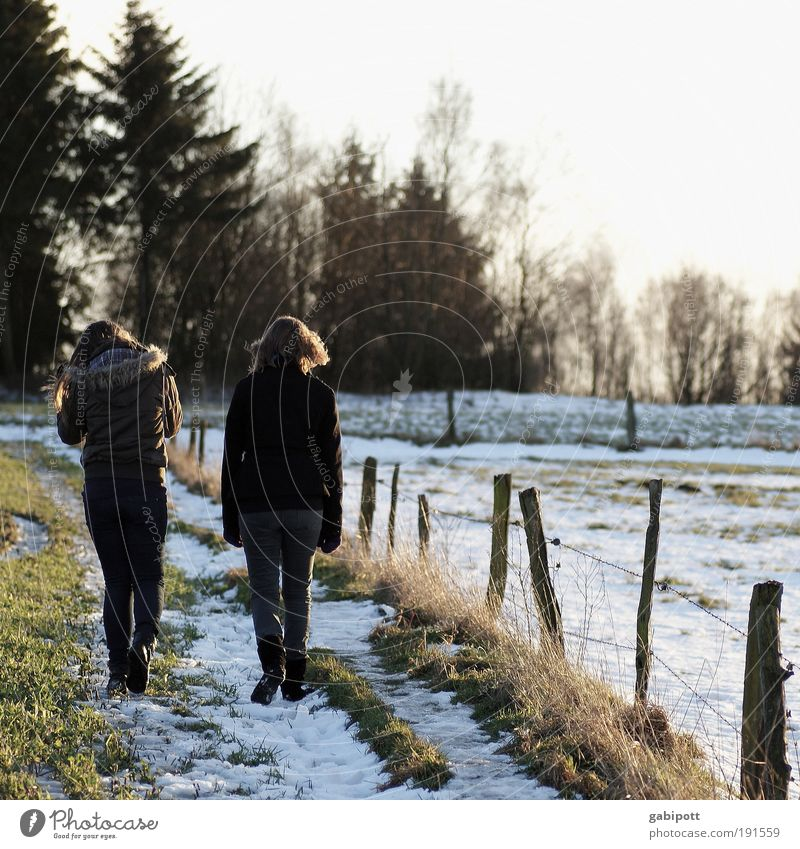 Human being Nature Youth (Young adults) Winter Life Movement Family & Relations Friendship Together Going Hiking To go for a walk Fence Grandmother