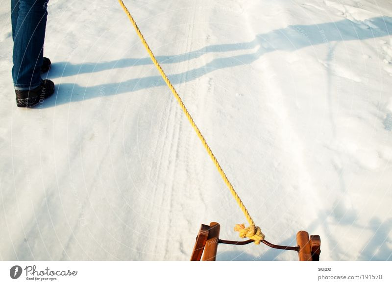 foster child Lifestyle Joy Leisure and hobbies Winter Snow Winter vacation Rope Human being Legs 1 Lanes & trails Footwear Going Walking Cold Sleigh Pull