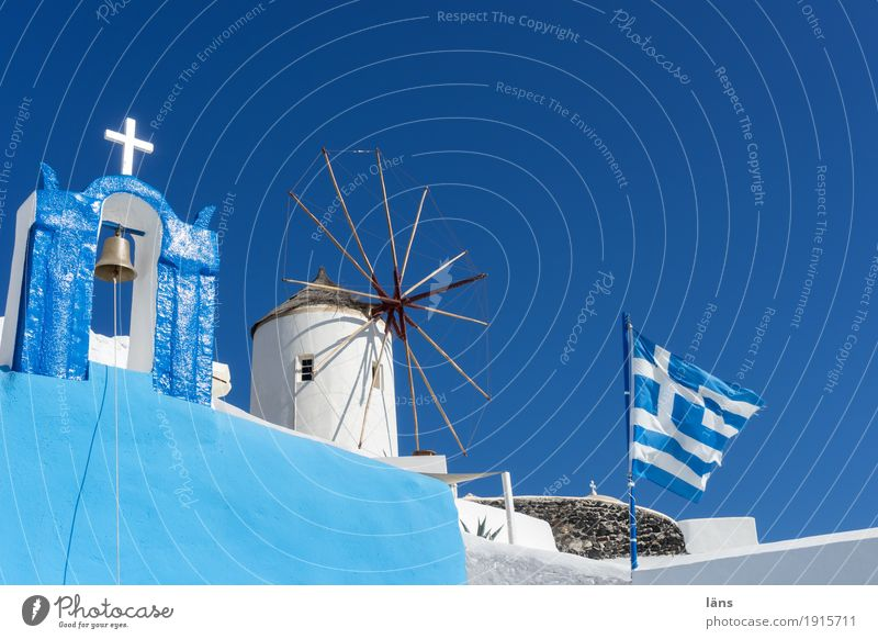 Greek color theory Vacation & Travel Tourism Trip Summer Living or residing House (Residential Structure) Sky Cloudless sky Fira Small Town Church Windmill