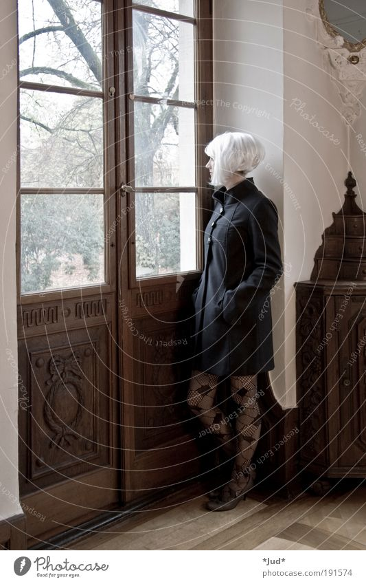 silent Elegant Feminine Young woman Youth (Young adults) Woman Adults 1 Human being 18 - 30 years baroque castle Coat Tights White-haired Short-haired Wood