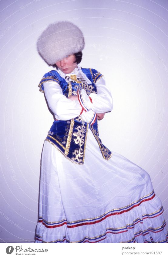 Postcard from Kyrgyzstan Human being Feminine Woman Adults Cloth Pelt Wait Cool (slang) Exotic Brash Historic Kitsch Positive Trashy Optimism Power Arrogant