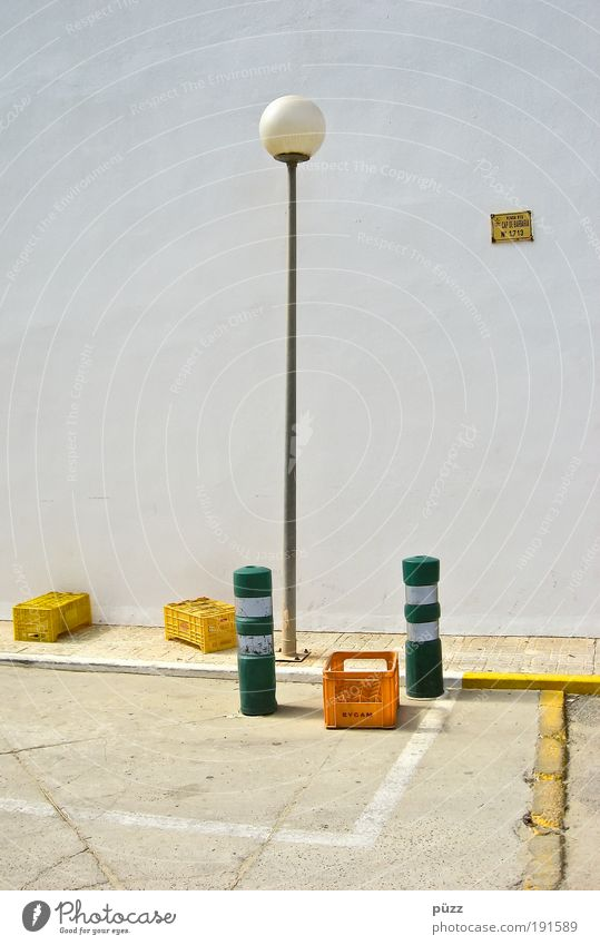 White Green City Loneliness Yellow Street Lamp Wall (building) Stone Wall (barrier) Signs and labeling Facade Gloomy Lantern Box Plastic