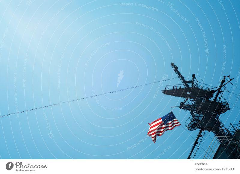USA Flag Beautiful weather Navigation Pride California Cloudless sky Cruise Symbols and metaphors Port City Navy Patriotism Cruise liner Passenger ship