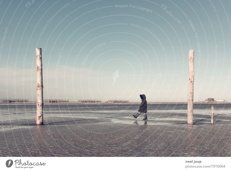 Human being Child Blue Landscape Loneliness Joy Far-off places Winter Beach Cold Movement Coast Going Horizon Free Dream