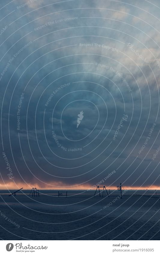 Ocean Landscape Loneliness Beach Dark Coast Playing Horizon Illuminate Fear Climate Threat Elements North Sea Swing Respect