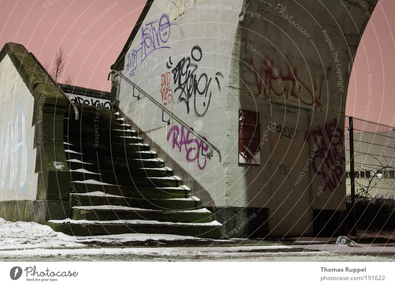 staircase Sky Cloudless sky Night sky Winter Snow Europe Outskirts Deserted Bridge Manmade structures Stairs Facade Stone Concrete Graffiti Cold Pink
