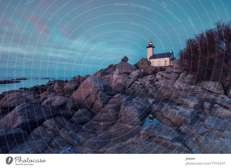 Blue White Loneliness House (Residential Structure) Black Brown Bright Horizon Idyll Hope Safety France Lighthouse