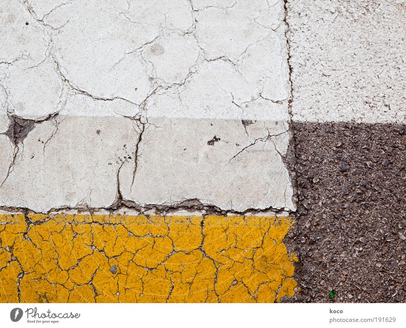 street scene Painting and drawing (object) Street Road sign Stone Concrete Line Stripe Going Esthetic Sharp-edged Under Yellow Gray White Symmetry