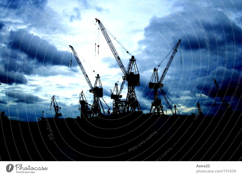 Blue City Clouds Far-off places Dark Cold Above Landscape Power Wind Large Industry Might Logistics Tourism Production
