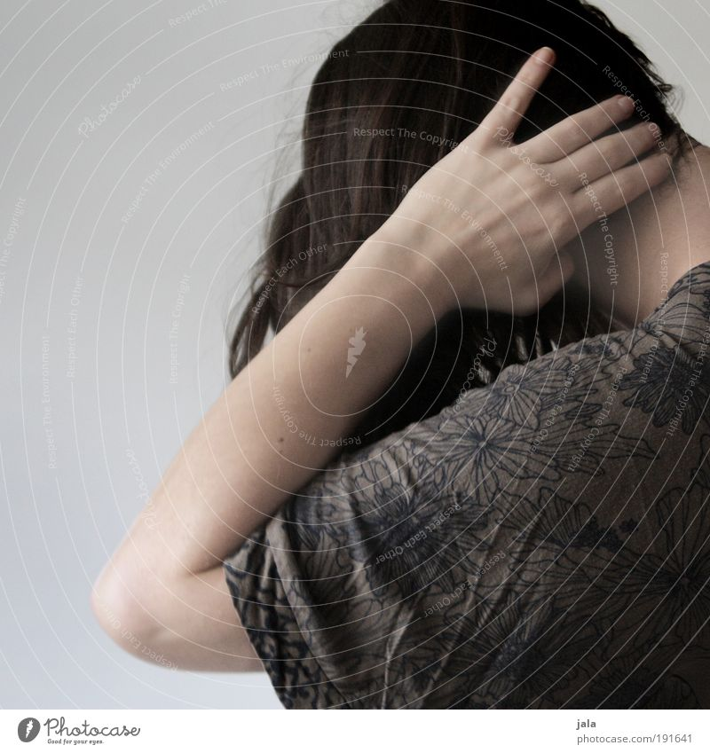 Leave me alone! Human being Feminine Woman Adults Head Hair and hairstyles Hand 18 - 30 years Youth (Young adults) Emotions Calm Sadness Lovesickness Reluctance