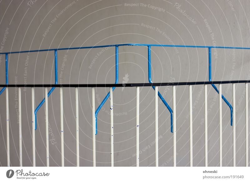 Blue Metal Stairs Handrail Banister Barrier Staircase (Hallway) Section of image Prop Boundary Bright background