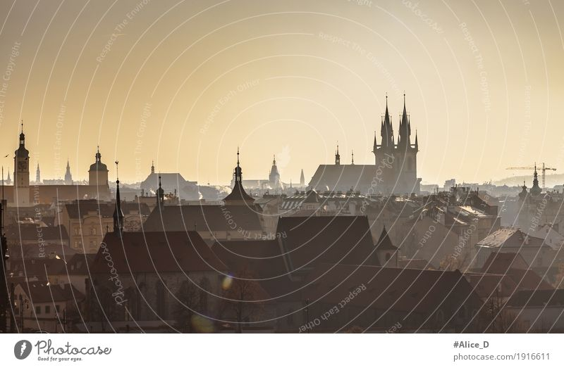 the dark towers of Prague Vacation & Travel Tourism Sightseeing Horizon Winter Skyline Czech Republic Europe Town Capital city Downtown Old town