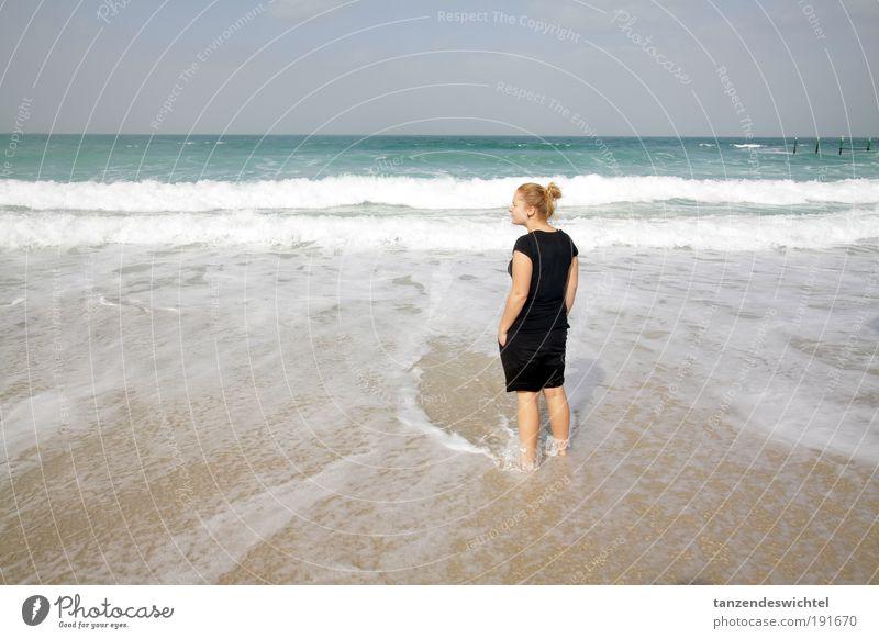 Summer pleasure in winter 1 sharjah United Arab Emirates Persian Gulf Woman Young lady Ocean sea noise Lake Beach Waves Looking sea breeze Salty Sea water