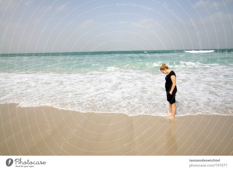 Woman Sun Ocean Beach Relaxation Sand Lake Waves Blonde Beautiful weather To enjoy Shorts Barefoot Things Asia Sea water