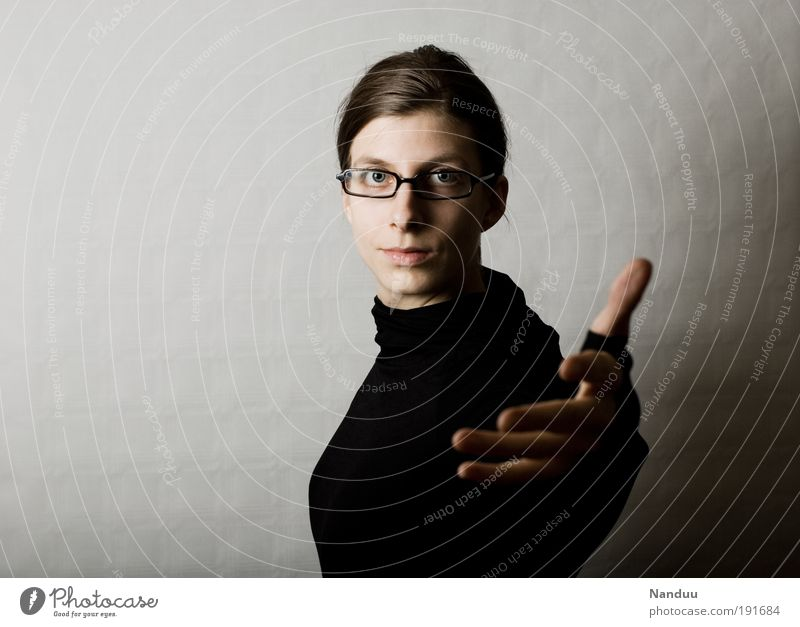 Human being Hand Black Feminine Expressionless Optimism Gesture Welcome Part Petit bourgeois Nerdy Demanding Person wearing glasses Roll-necked sweater