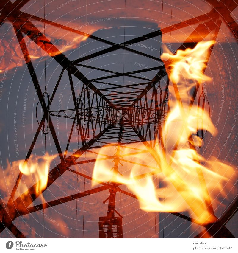 Red Blaze Energy Tall Fire Energy industry Electricity Cable Technology Hot Disaster Burn Diagonal Flame Electricity pylon Protection