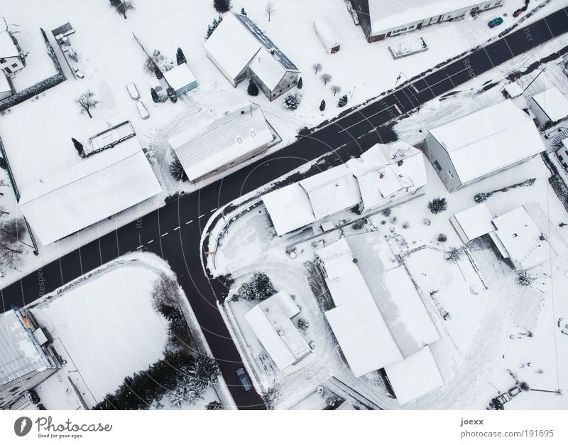 White Winter House (Residential Structure) Black Street Cold Snow Above Bird's-eye view Gray Dream Aerial photograph Lanes & trails Car Ice Bright