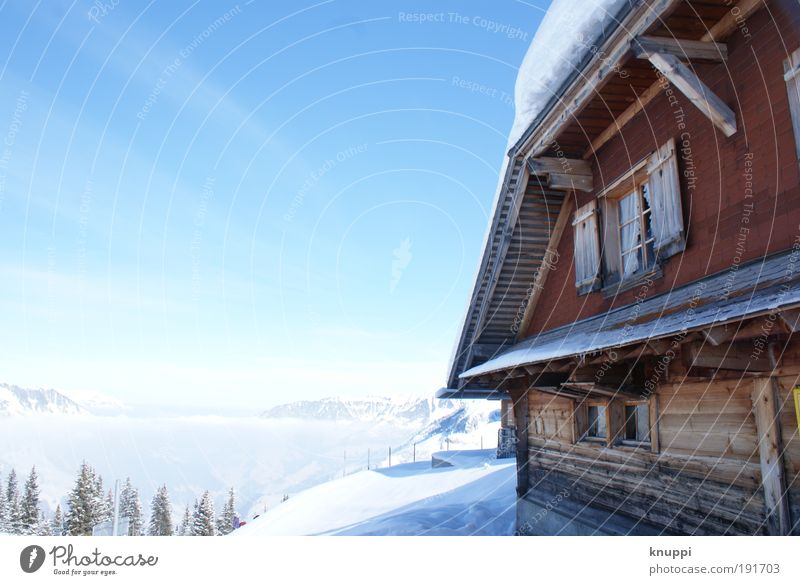 Sky Nature Vacation & Travel Blue White Sun Relaxation Red Landscape Calm House (Residential Structure) Joy Winter Mountain Environment Snow