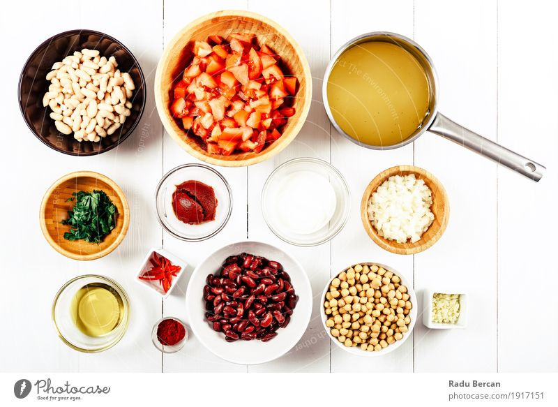Chili Bean Stew Food Ingredients Top View On White Wood Table Colour Red Dish Eating Healthy Leisure and hobbies Nutrition Fresh Arrangement Creativity Round