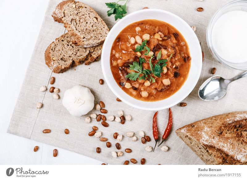 Chili Beans Stew Ready To Be Served Food Vegetable Bread Soup Herbs and spices Nutrition Eating Lunch Dinner Organic produce Vegetarian diet Diet Plate Bowl