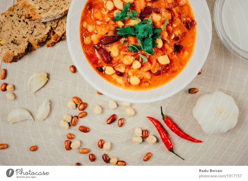 Chili Beans Stew, Bread Ready To Be Served Colour Green White Red Dish Eating Healthy Food Brown Nutrition Fresh Retro Simple Round Herbs and spices Cooking