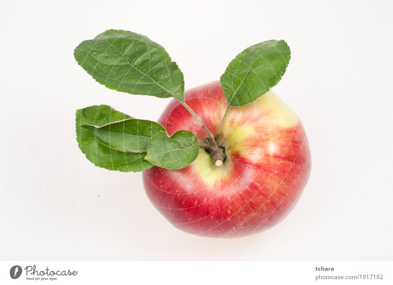 Ripe apple Fruit Apple Dessert Nutrition Vegetarian diet Diet Nature Leaf Fresh Delicious Natural Juicy Green Red White isolated background food healthy