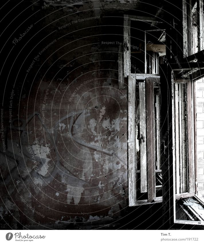 ...window closed ...pulls Germany Europe Capital city Deserted Factory Ruin Wall (barrier) Wall (building) Window Loneliness Transience Change Room Broken Open